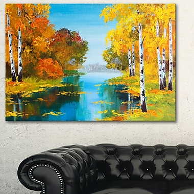 Birch Forest near the River Landscape Metal Wall Art, 28x12, (MT6223-28-12)