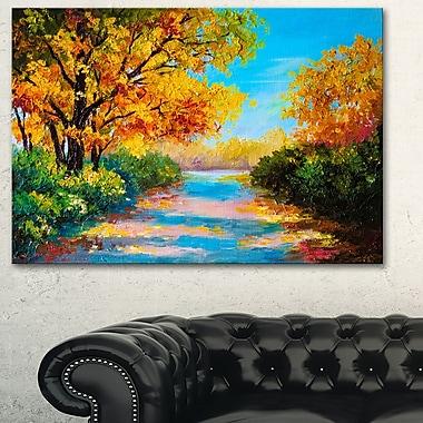 Art mural en métal, paysage, forêt d'automne avec rivière colorée, 28 x 12 po (MT6226-28-12)
