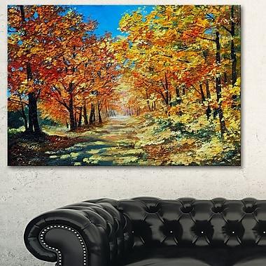 Art mural en métal, paysage, journée ensoleillée dans une forêt d'automne, 28 x 12 po (MT6227-28-12)