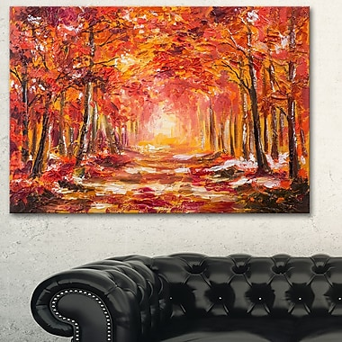 Autumn Forest in Red Shade Landscape Metal Wall Art, 28x12, (MT6228-28-12)