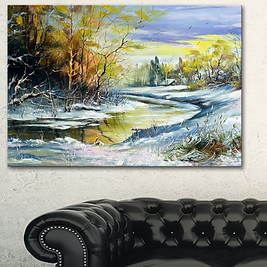 River in the Spring Woods Landscape Metal Wall Art, 28x12, (MT6229-28-12)
