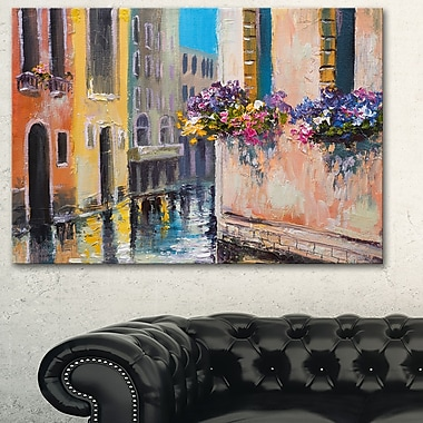 Canal in Venice with Flowers Cityscape Metal Wall Art, 28x12, (MT6231-28-12)