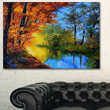 Autumn Reflecting in River Landscape Metal Wall Art, 28x12, (MT6233-28-12)