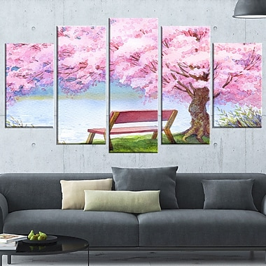 Bench under Flowering Peach Tree Floral Metal Wall Art, 60x32, 5 Panels, (MT6235-373)