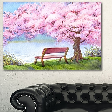 Bench under Flowering Peach Tree Floral Metal Wall Art, 28x12, (MT6235-28-12)