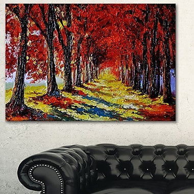 Autumn Forest with Red Leaves Landscape Metal Wall Art, 28x12, (MT6236-28-12)