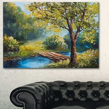 Summer Forest with Beautiful River Metal Wall Art, 28x12, (MT6237-28-12)