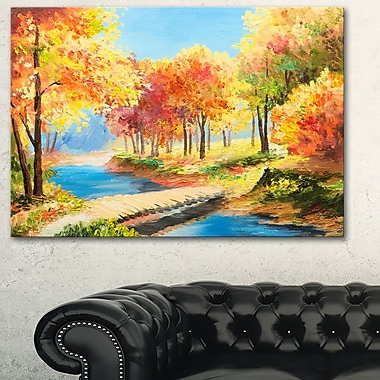 Art mural en métal, pont en bois au cœur d'une forêt colorée, 28 x 12 po, (MT6238-28-12)