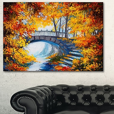 Fall Forest with a Bridge Landscape Metal Wall Art, 28x12, (MT6240-28-12)