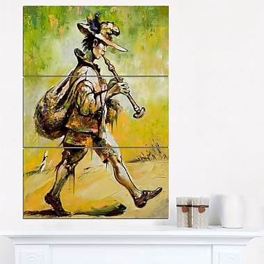 Wandering Troubadour with Pipe Music Metal Wall Art, 28x36, 3 Panels, (MT6241-28-36)