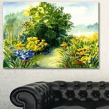 Art mural en métal, paysage, aquarelle de verdure, 28 x 12 po, (MT6242-28-12)