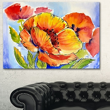 Bouquet of Full Blown Poppies Floral Metal Wall Art, 28x12, (MT6243-28-12)