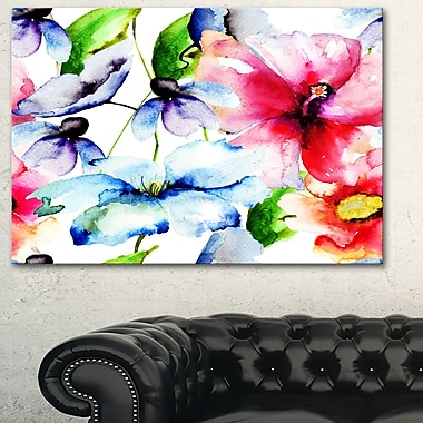 WaterColour Flowers Everywhere Floral Metal Wall Art, 28x12, (MT6247-28-12)