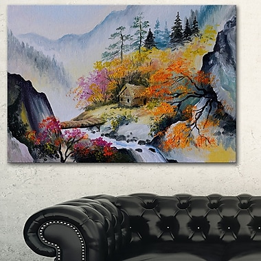 House in the Mountains Landscape Metal Wall Art, 28x12, (MT6248-28-12)