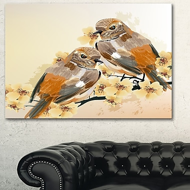 Bird Couple on a Branch Animal Metal Wall Art, 28x12, (MT6251-28-12)