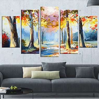 Colourful Spring Forest Landscape Metal Wall Art