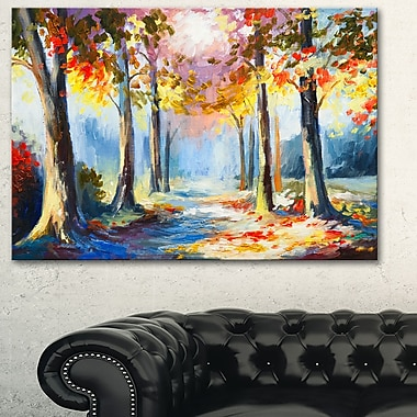 Colourful Spring Forest Landscape Metal Wall Art, 28x12, (MT6255-28-12)