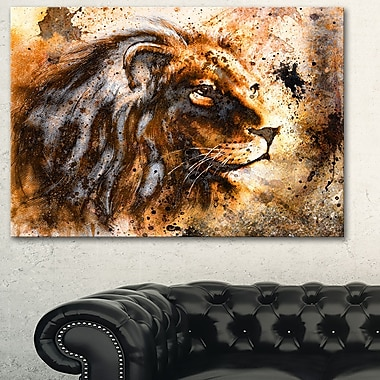 Art mural en métal d'animal, collage de lion, 28 x 12 po (MT6256-28-12)