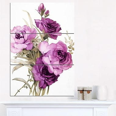 Art mural floral en métal, bouquet de fleurs violettes, 28 x 36 po, 3 panneaux (MT6258-28-36)