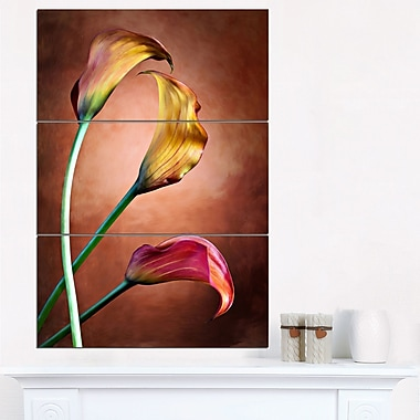 Zantedeschia Aethiopica Floral Metal Wall Art, 28x36, 3 Panels, (MT6264-28-36)