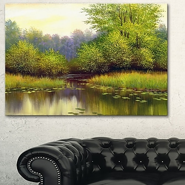 Green Summer with River Landscape Metal Wall Art, 28x12, (MT6267-28-12)