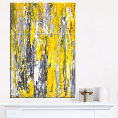 Grey and Yellow Abstract Pattern Abstract Metal Wall Art, 28x36 3 Panel, (MT6268-28-36)