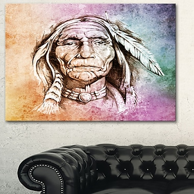 American Indian Head Portrait Metal Wall Art, 28x12, (MT6271-28-12)