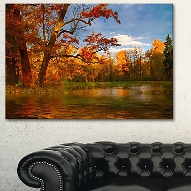 Quiet and Silent Autumn Landscape Metal Wall Art, 28x12, (MT6274-28-12)