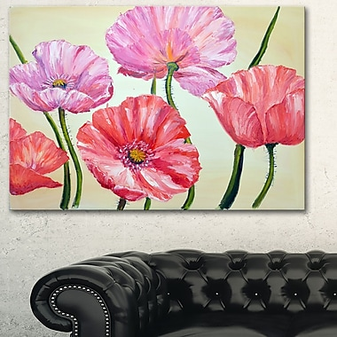 Red and Pink Poppies Floral Metal Wall Art, 28x12, (MT6275-28-12)