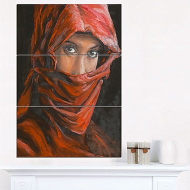 Arabian Woman in Hijab Portrait Metal Wall Art