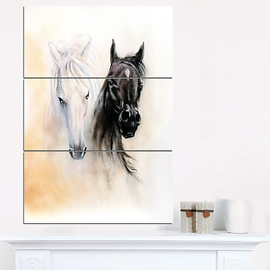 Black and White Horse Heads Animal Metal Wall Art, 28x36, 3 Panels, (MT6280-28-36)