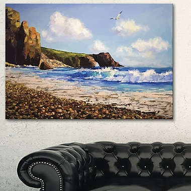 Sea with Seagull Landscape Metal Wall Art, 28x12, (MT6281-28-12)