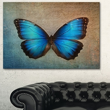Blue Vintage Butterfly Floral Metal Wall Art, 28x12, (MT6282-28-12)