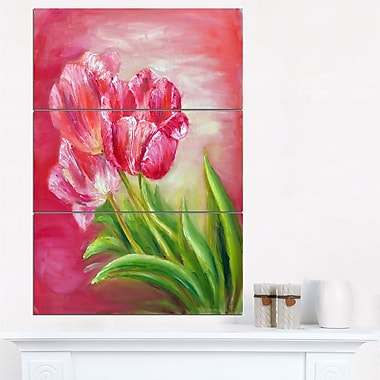Red Tulips in Red Background Floral Metal Wall Art, 28x36, 3 Panels, (MT6284-28-36)