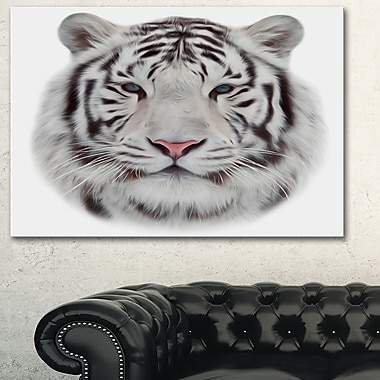 White Bengal Tiger Animal Metal Wall Art, 28x12, (MT6285-28-12)