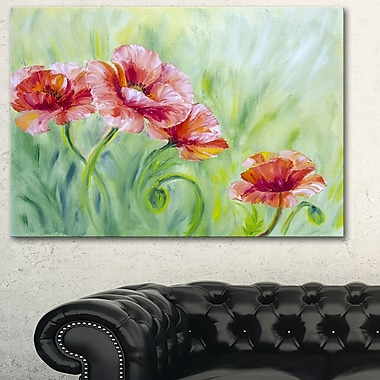 Pale Red Poppies Floral Metal Wall Art, 28x12, (MT6286-28-12)