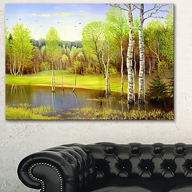 Light Green Autumn Landscape Metal Wall Art, 28x12, (MT6287-28-12)