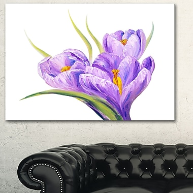 Crocuses in White Background Floral Metal Wall Art, 28x12, (MT6288-28-12)