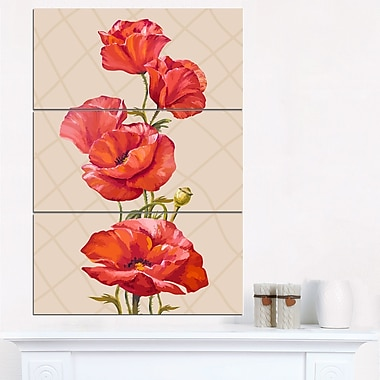 Bunch of Poppies Vector Art, Floral Metal Wall Art, 28x36, 3 Panels, (MT6290-28-36)