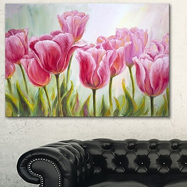 Tulips in a Row Floral Metal Wall Art, 28x12, (MT6291-28-12)