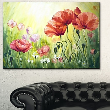 Poppies in Morning Floral Metal Wall Art, 28x12, (MT6293-28-12)