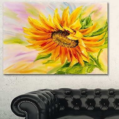 Sunflower Oil Painting Floral Metal Wall Art, 28x12, (MT6295-28-12)