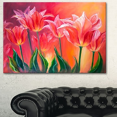 Tulips in Red Shade Floral Metal Wall Art, 28x12, (MT6296-28-12)