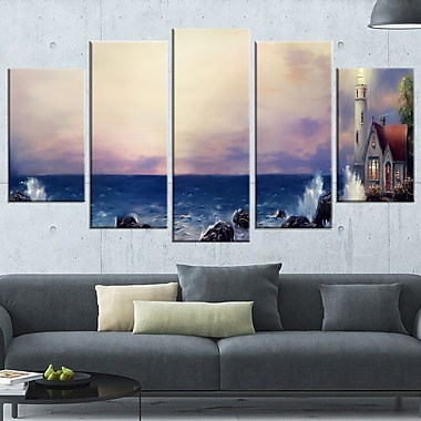 Lighthouse Sea Panoramic Landscape Metal Wall Art, 60x32, 5 Panels, (MT6298-373)