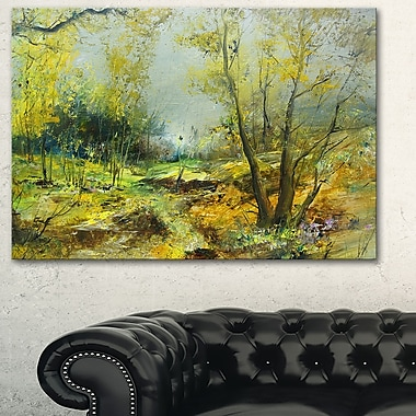 Green Yellow Forest Landscape Metal Wall Art, 28x12, (MT6306-28-12)