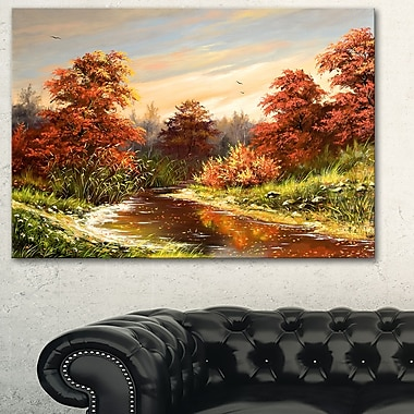 The Red River Landscape Metal Wall Art, 28x12, (MT6307-28-12)