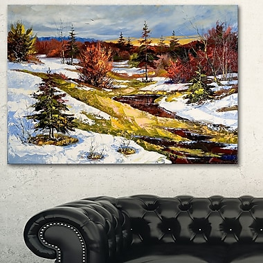 Spring Valley with River Landscape Metal Wall Art, 28x12, (MT6308-28-12)