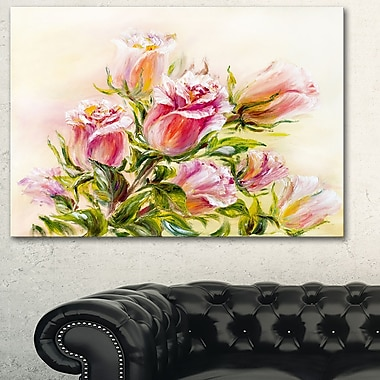 Rose Oil Painting Floral Metal Wall Art, 28x12, (MT6309-28-12)