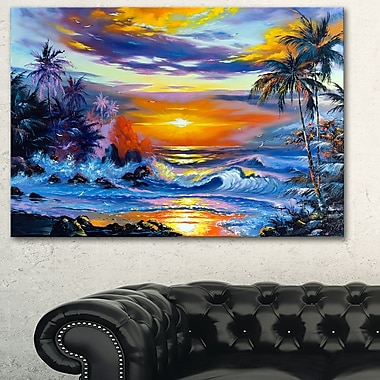 Sea in the Evening Landscape Metal Wall Art, 28x12, (MT6310-28-12)