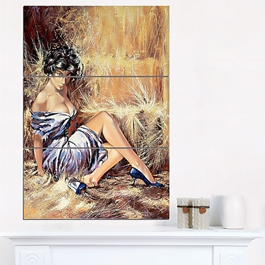 Girl Setting on Floor Portrait Metal Wall Art, 28x36, 3 Panels, (MT6311-28-36)